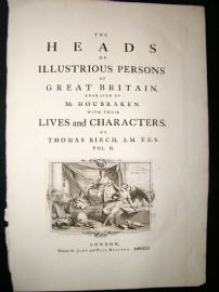 Birch Heads of Illustrious Persons 1751 Engraved Vol 2 Title Page by Gravelot